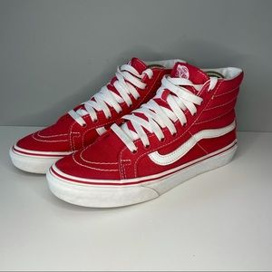 VANS Mens Sz 6,5 Pro Off Wall Sneakers Skater High Top 721454 Red Canvas Shoe